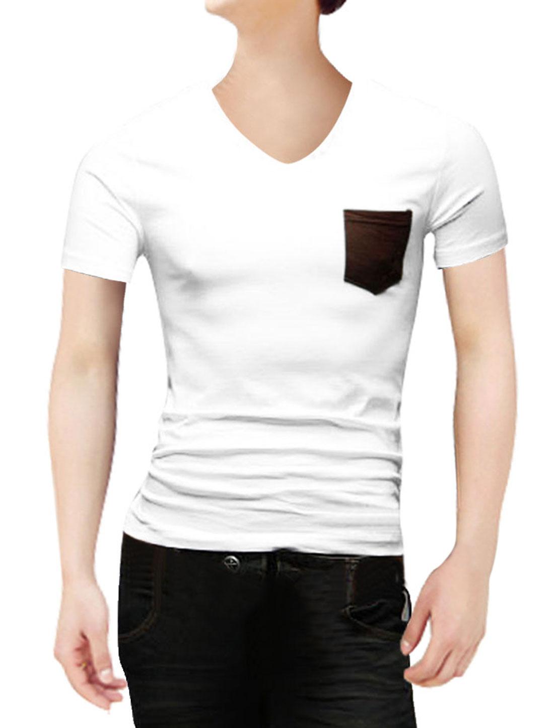 Mens V Neck Short Sleeve Embroidered Detail Chest Pocket Design White Shirt S