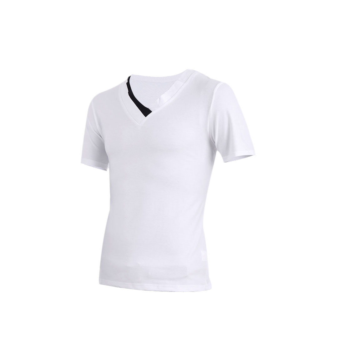 Men V Neck Short Sleeve Summer Wearing Leisure Shirt White M