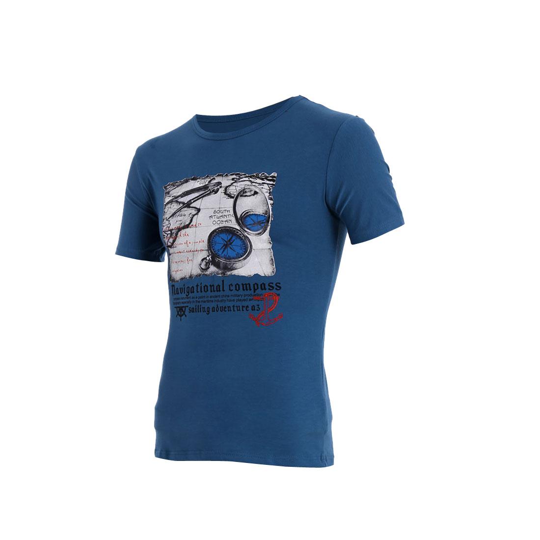 Men Round Neck Short Sleeve Letter Compass Prints Shirt Steel Blue M