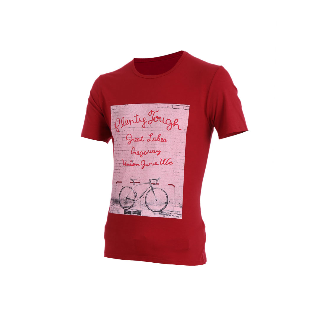 Men Round Neck Pullover Short Sleeve Wall Prints Shirt Burgundy M