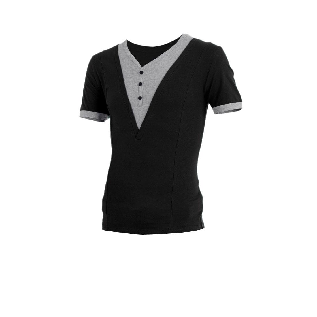 Men V Neck Short Sleeve Color Blocking Stretchy Shirt Black M