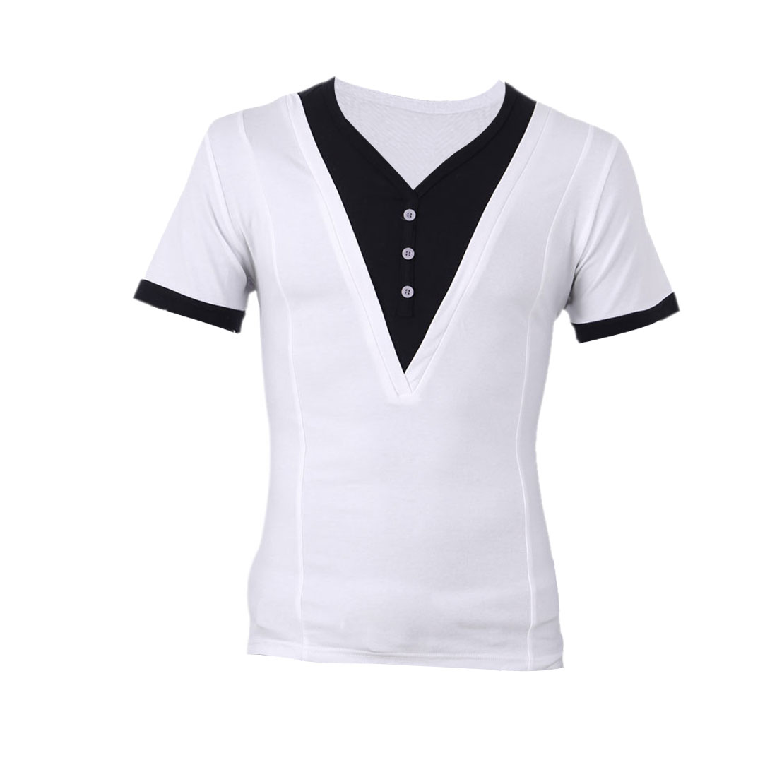 Men V Neck Button Front Up Casual Shirt White M