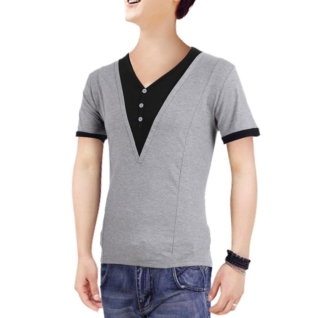 Men V Neck Short Sleeve Panel Stretchy Shirt Light Gray M