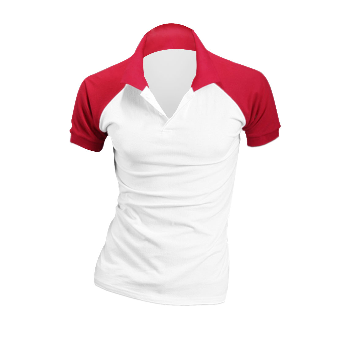Men Short Sleeve Button Closure Up Polo Shirt Red White M