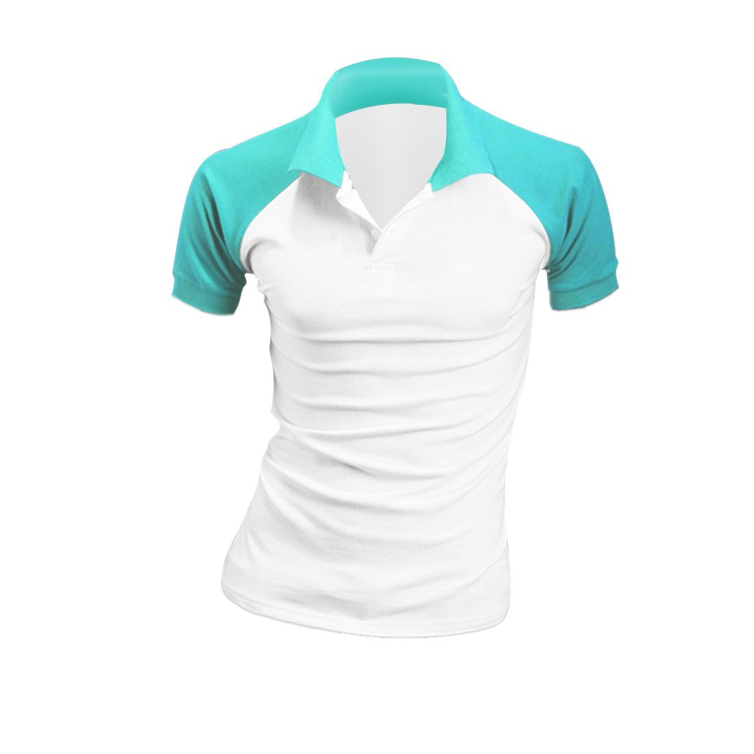 Men Convertible Collar Short Sleeve Leisure Shirt Aqua White M