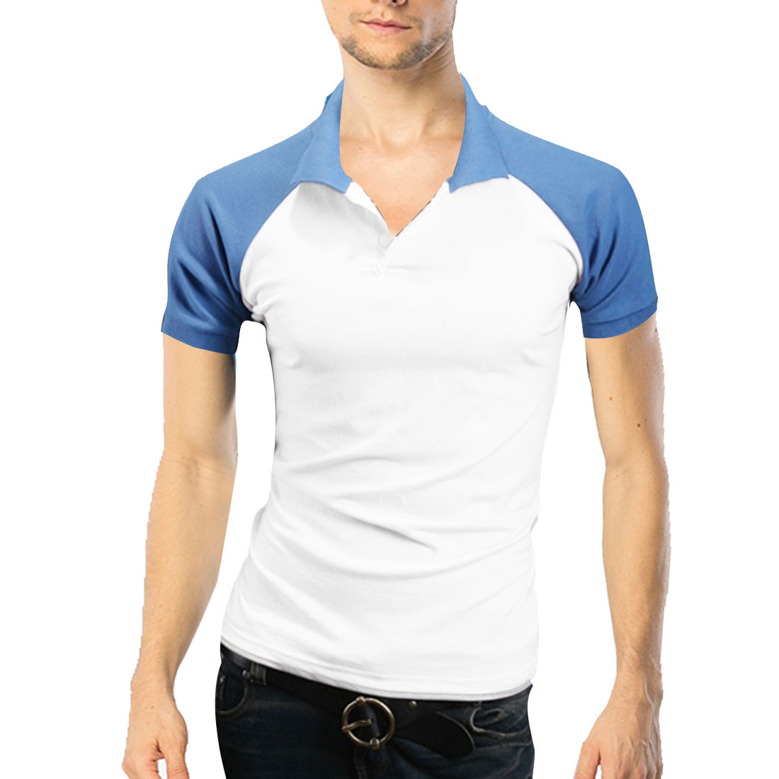 Men Convertible Collar Ribbing Cuffs Polo Shirt Sky Blue White M
