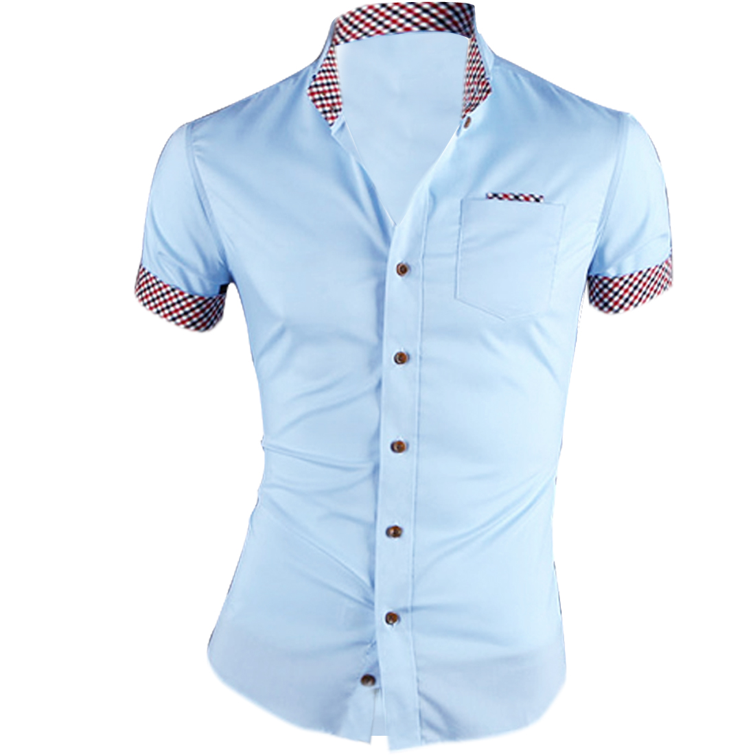 Man Chic Baby Blue Point Collar Single-Breasted Front Plaid Detail Shirt M