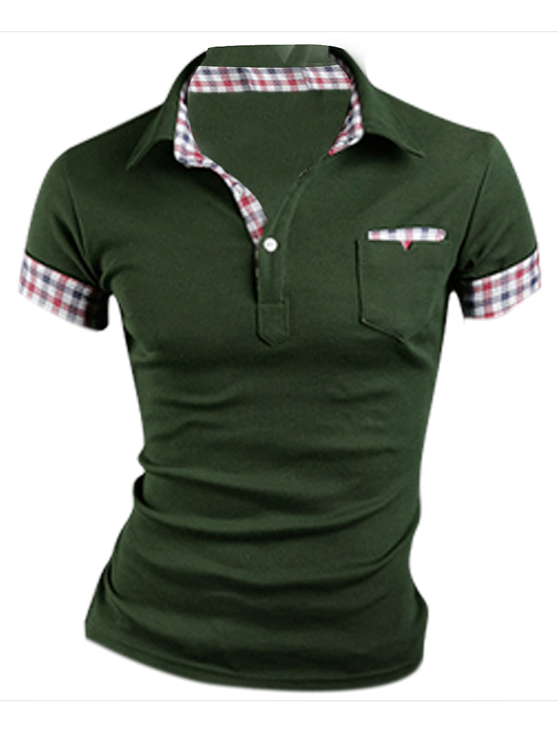 Mens Chic Point Collar Short Sleeve Button Front Army green Polo Shirt M