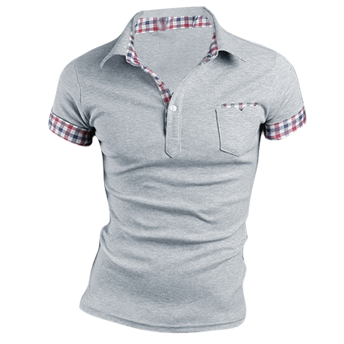 Men Newly Point Collar Short Sleeve Rolled Up Plaid Cuff Light Gray Shirt M