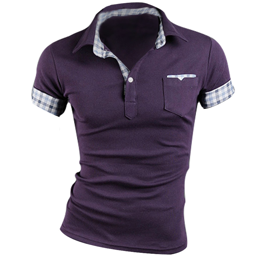 Man Chic Short Sleeve Plaids Cuff Button Front Decor Purple Polo Shirt M