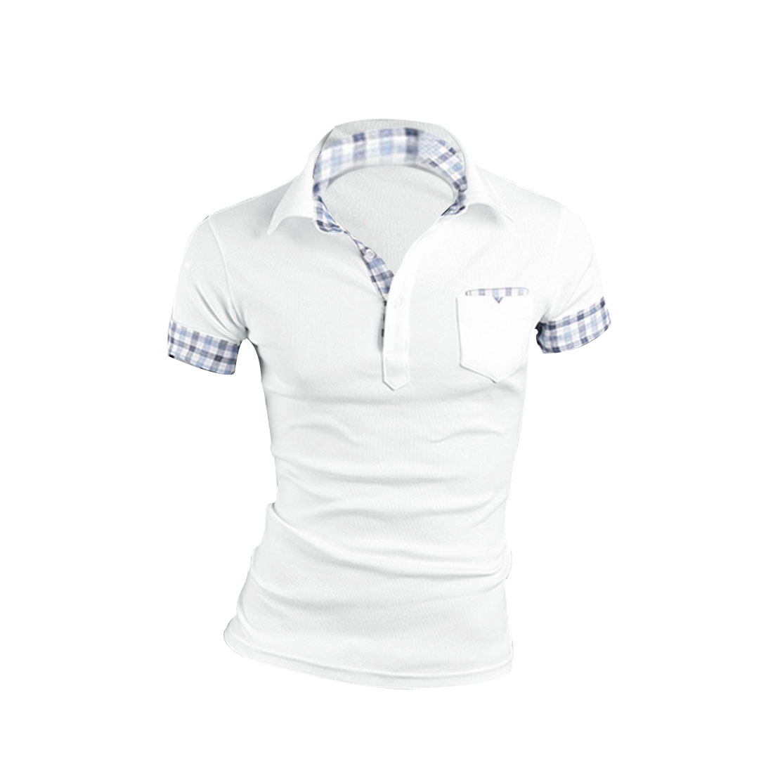 Fashion Mens Point Collar Short Sleeve Button Front Design White Shirt M