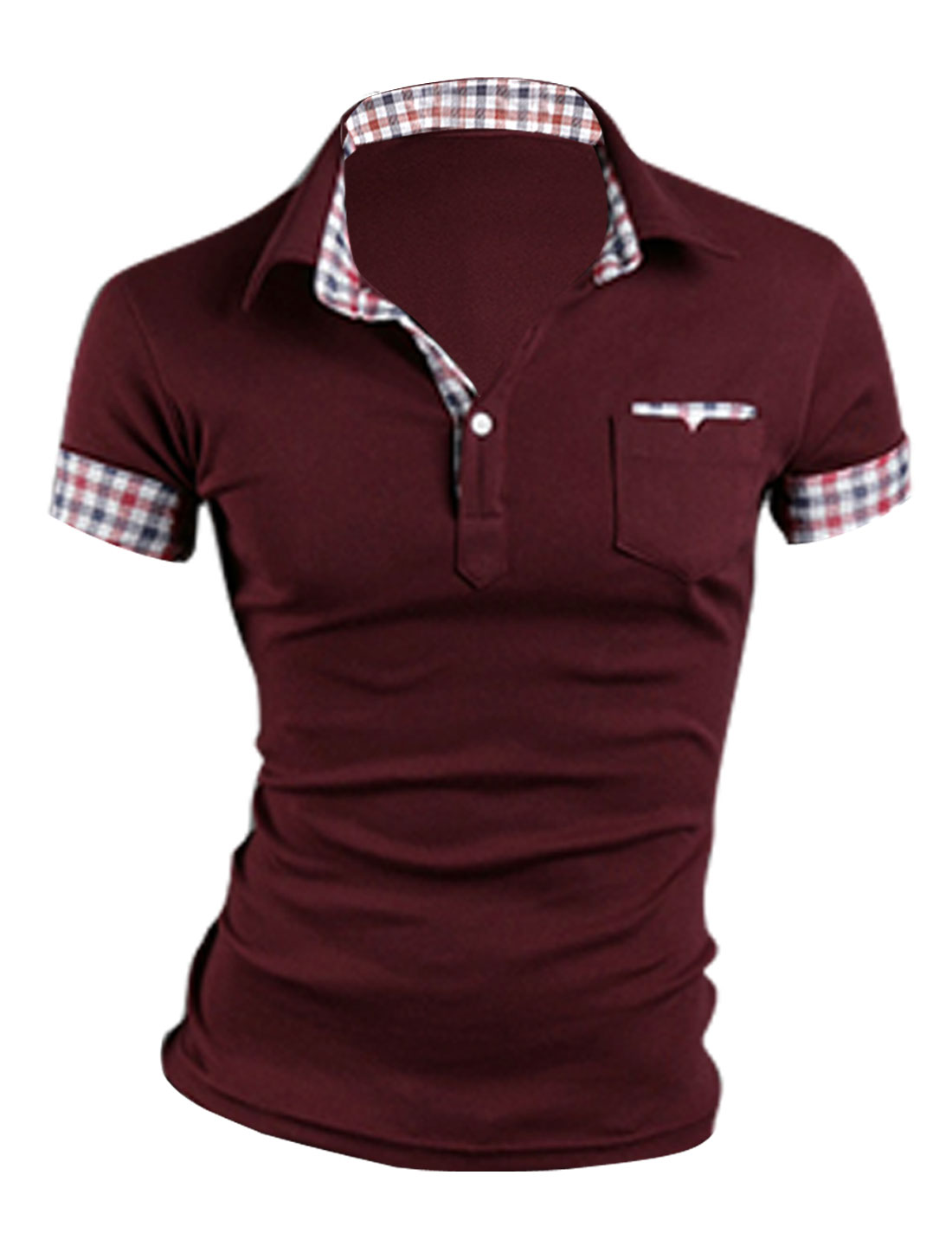 New Style Mans Burgundy Short Sleeve Button Front Chest Pockets Shirt M