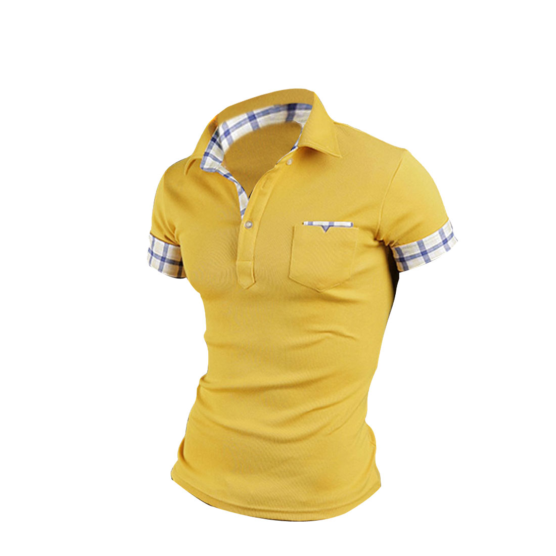 Man Chic Mustard Short Sleeve Plaid Rolled Up Cuff Polo Shirt M