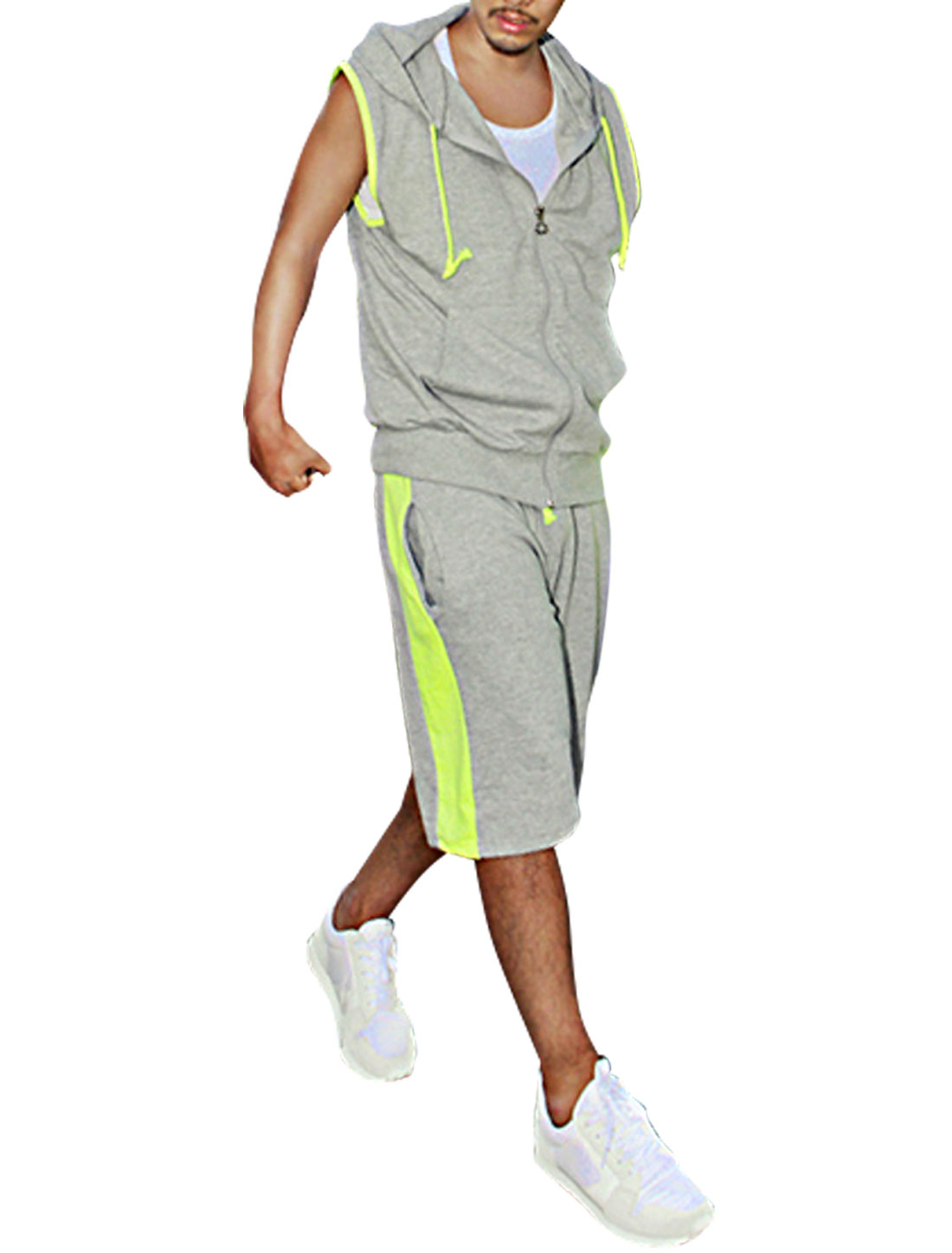 Men Zip Up Front Hoody w Stretchy Shorts Heather Gray Fluorescein M