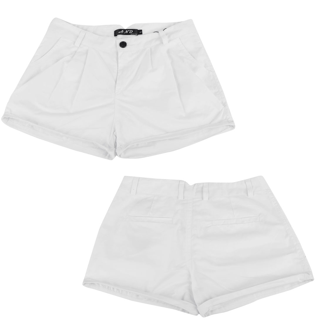 Ladies High Waist Slant Pockets Rolled Cuffs Zip Fly Shorts White S