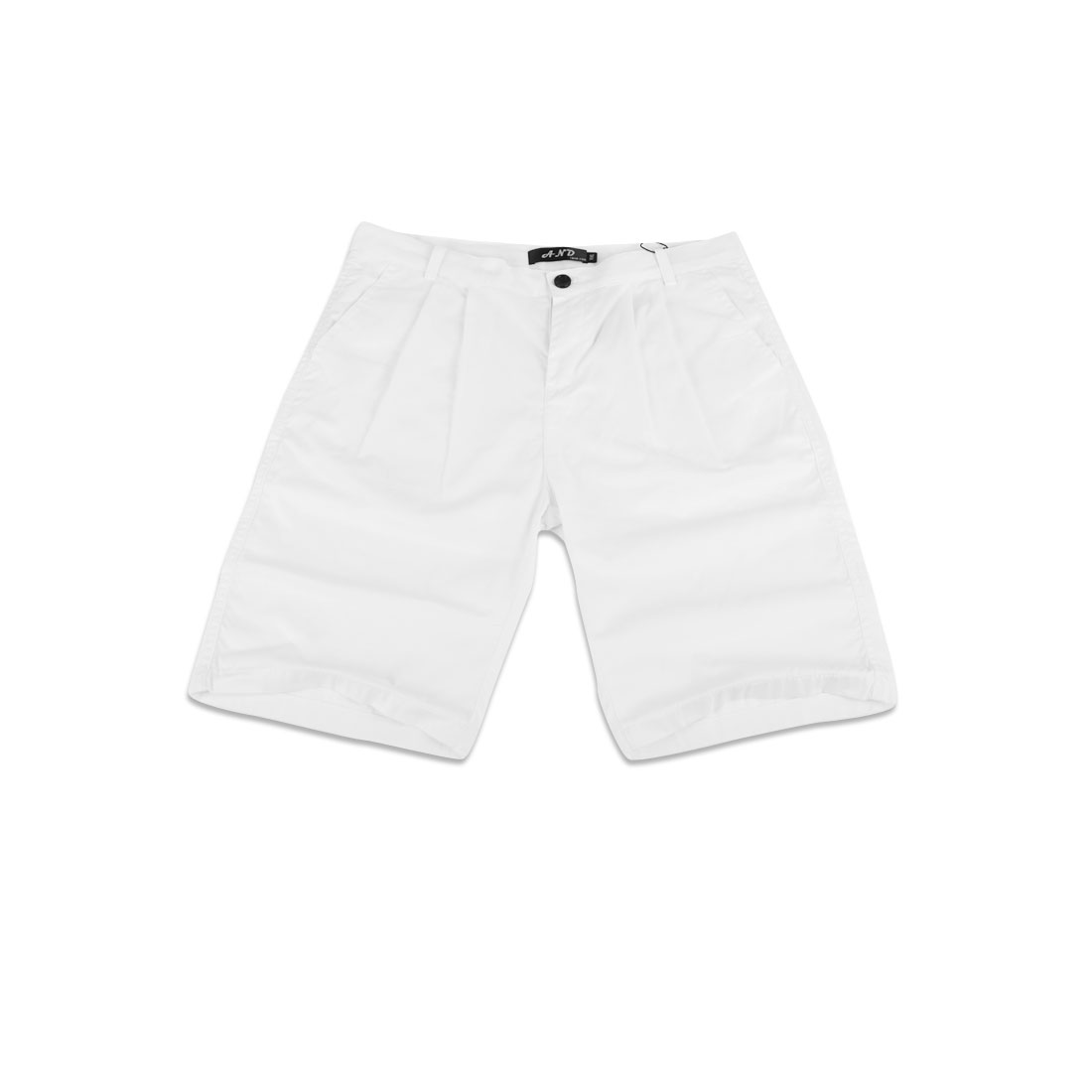 Men Zipper Fly Belted Loop Hip Pockets Casual Shorts White W32