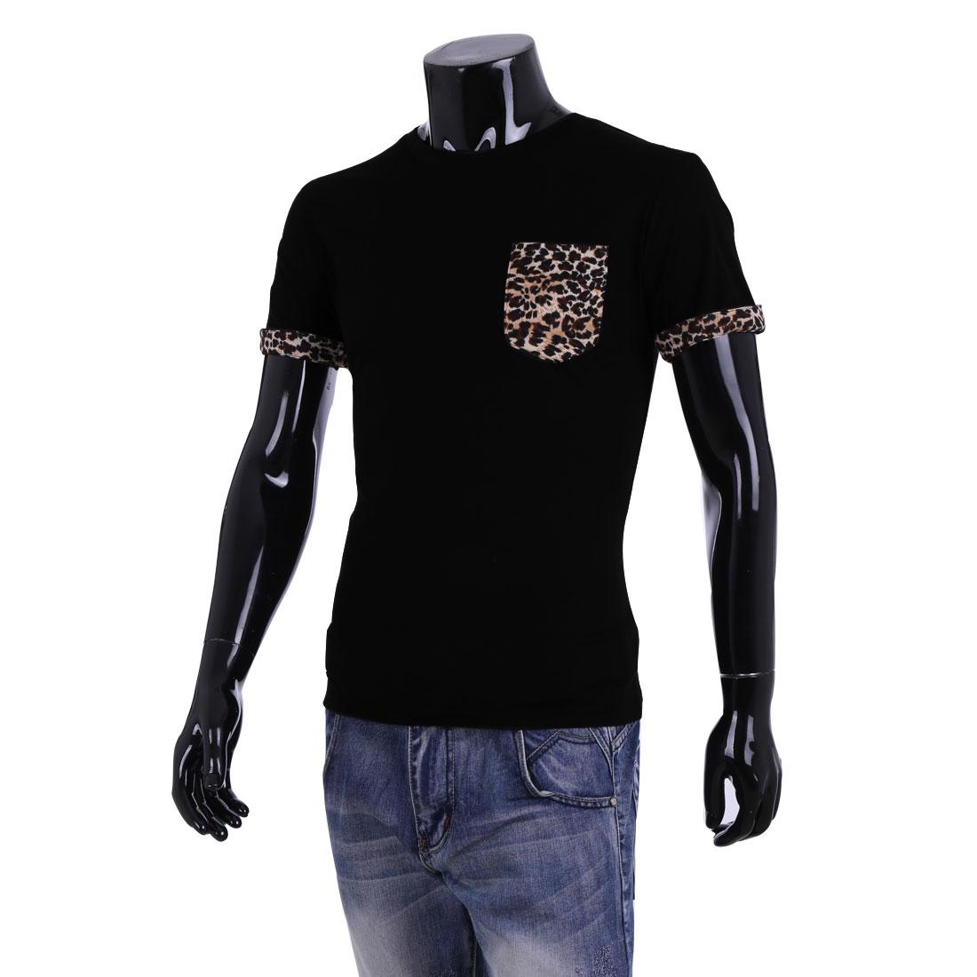 Men New Fashion Short Sleeve Leopard Prints Chest Pocket Black Shirt L