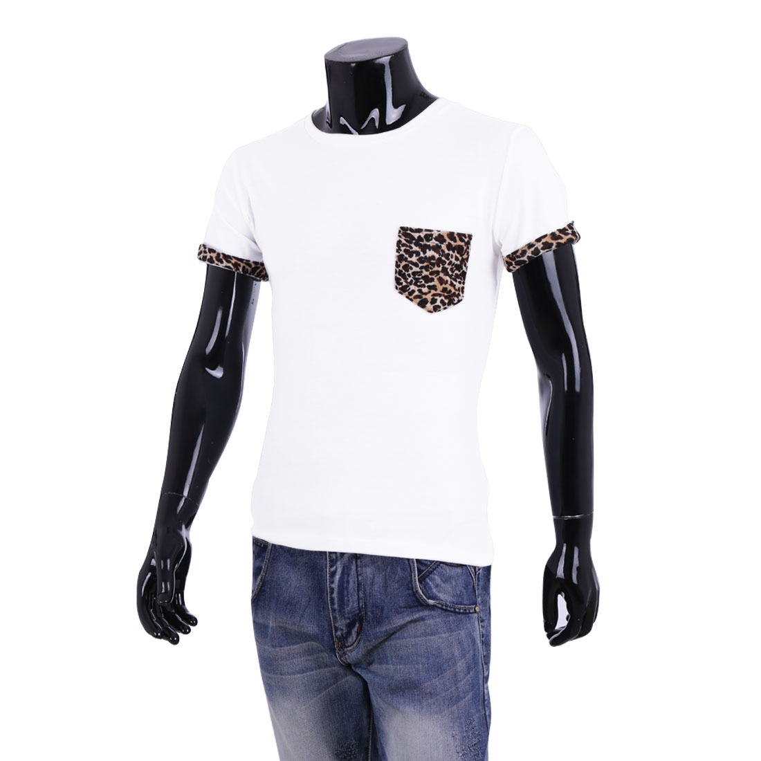 Mans Simple Design Leopard Prints Chest Patch Pocket White Basic T-Shirt L