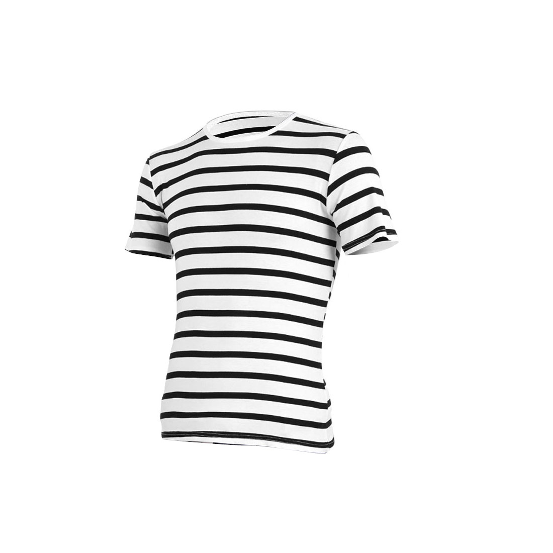 Men Personalized Stretchy Striped Stylish Leisure Shirt White M