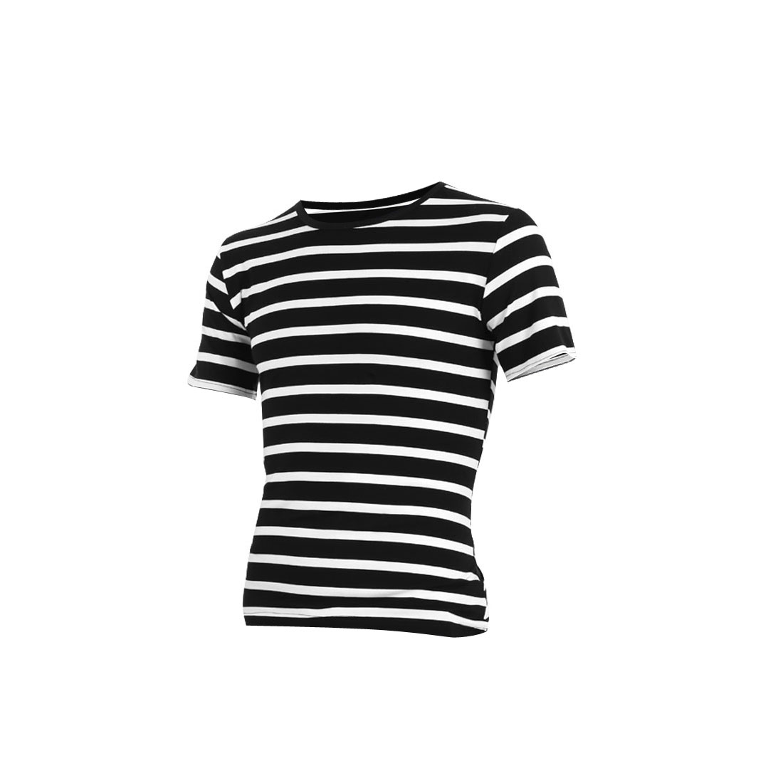 Man Round Neck Short Sleeves Stripes Prints Chic Shirts Black M
