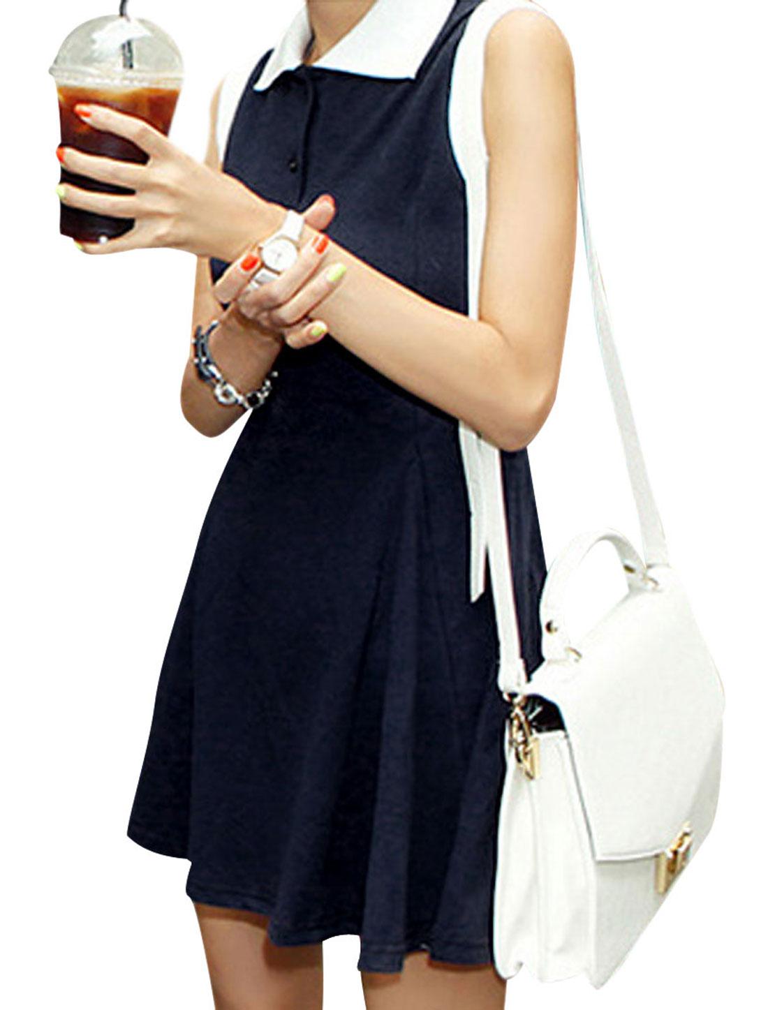 Women Navy Blue S Round Hem Sleeveless Style Point Collar Summer Dress