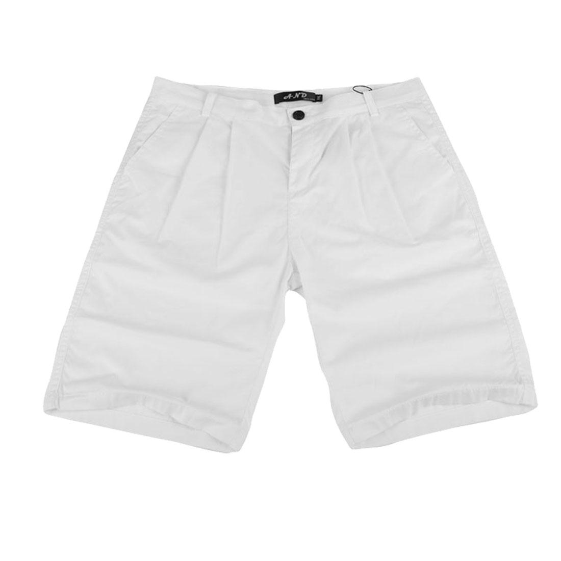 Men Concealed Zipper Two Slash Pockets Back Pockets Shorts White W32