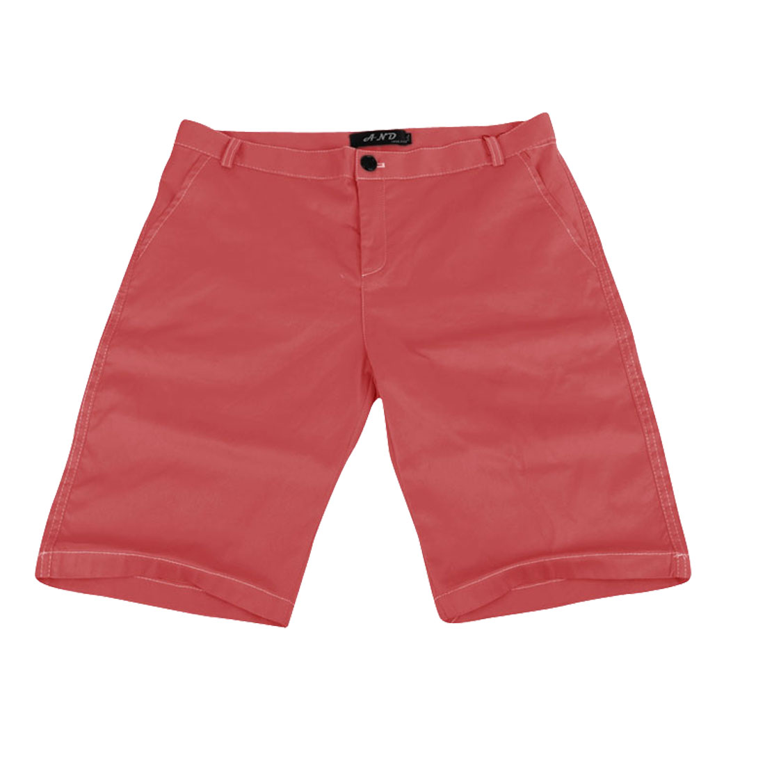 Men Hidden Zipper Back Pockets Slant Pockets Shorts Watermelon Red W31