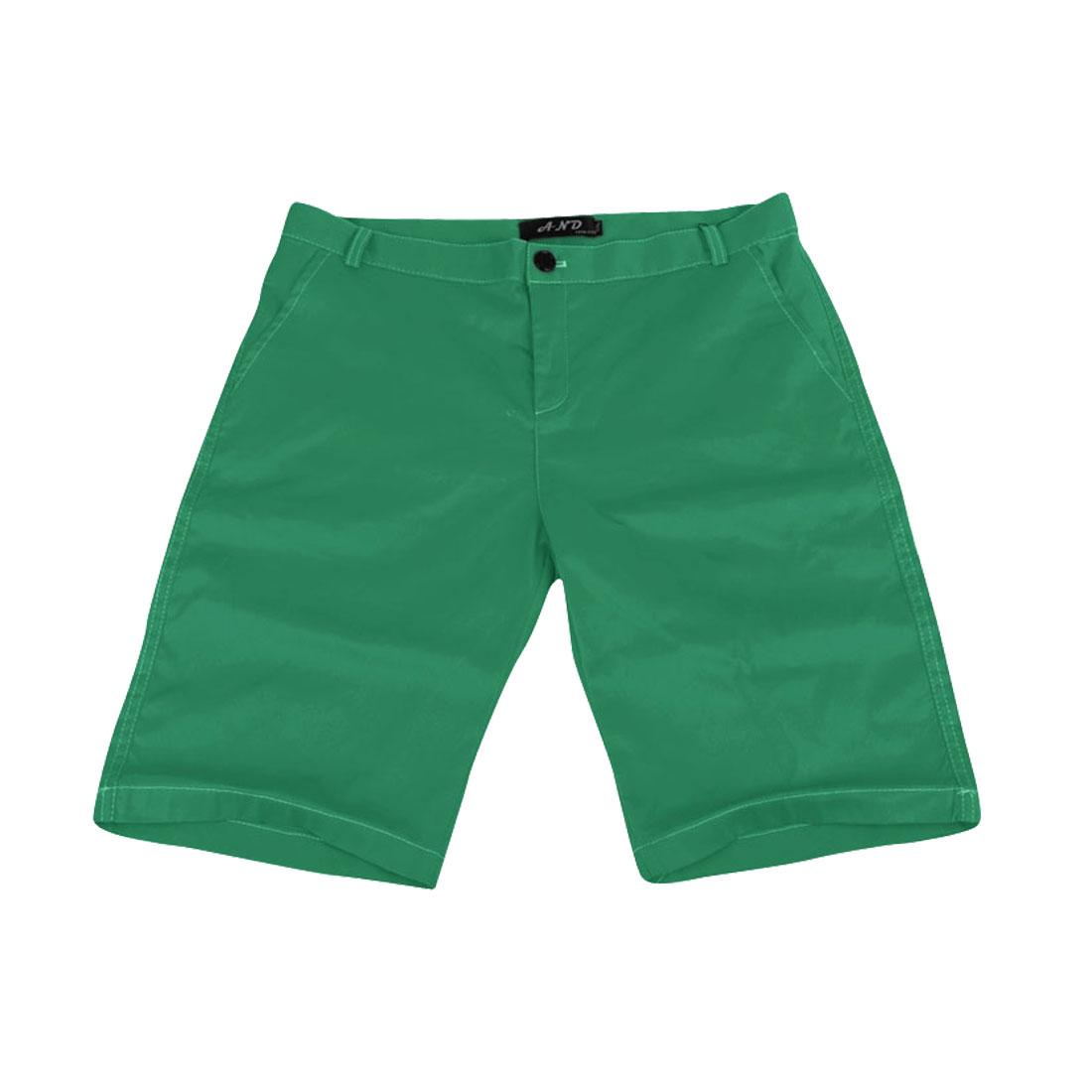 Green Hidden Zipper Button Closure Belt Loop Design Men Pure Shorts W31