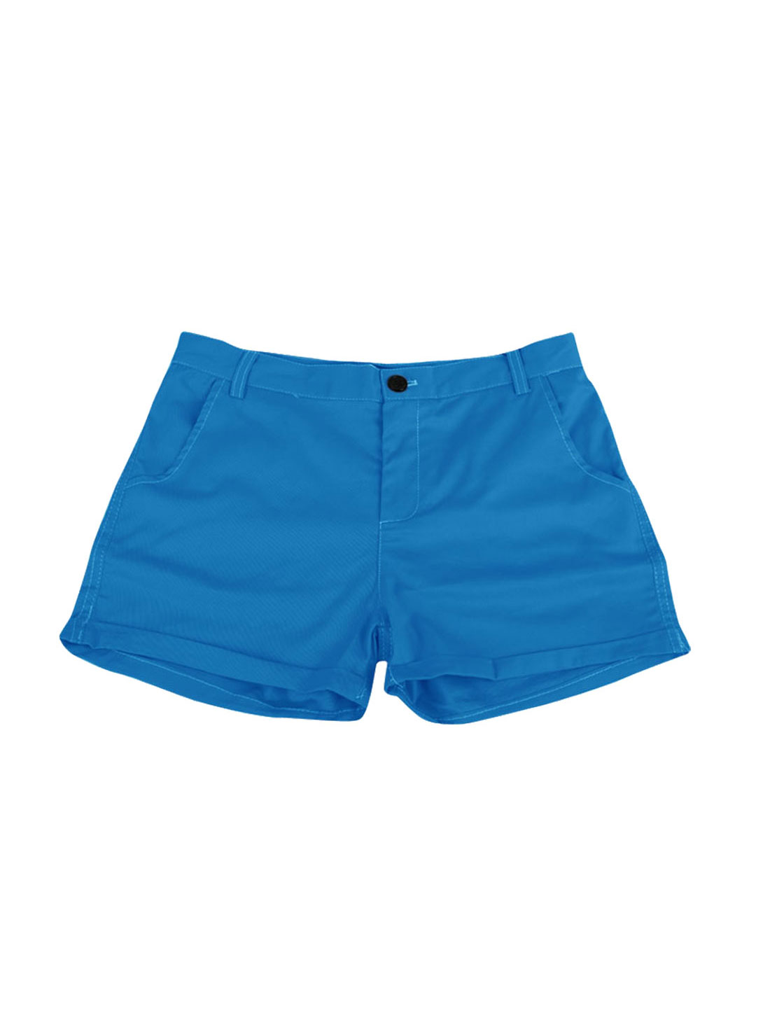 Blue S Hidden Zipper Belt Loop Front Pockets Style Ladies Pure Shorts