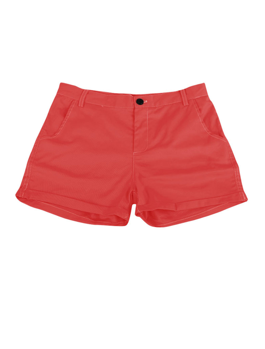 Ladies Slant Pockets Hip Pockets Summer Mini Shorts Red S