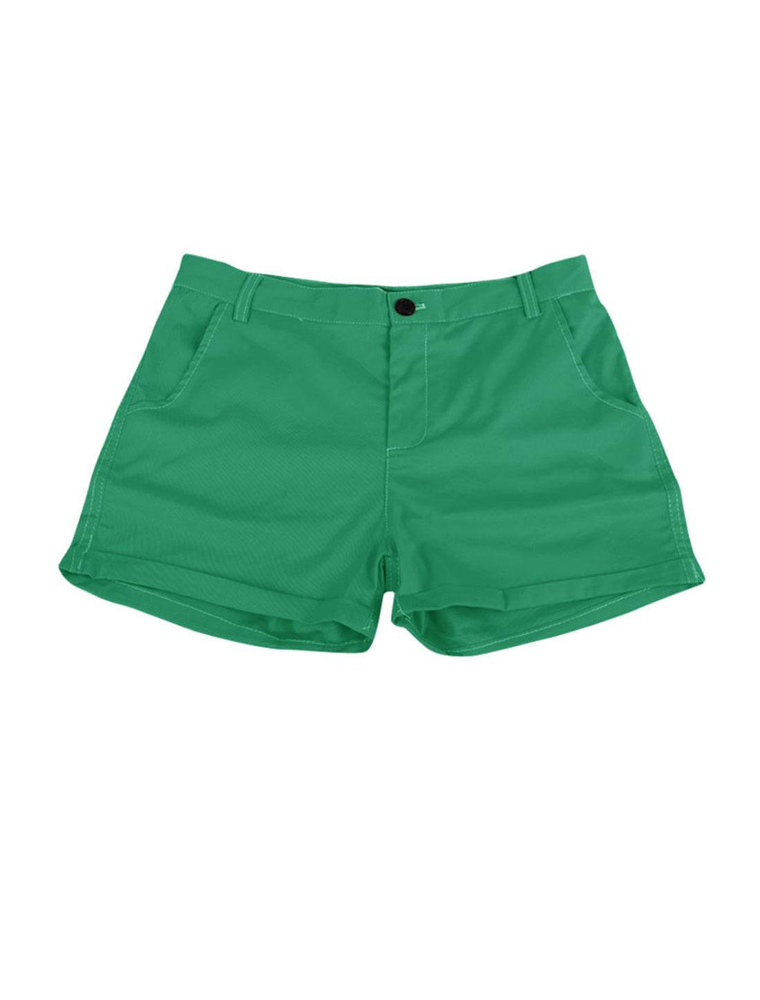 Green S Hidden Zip Roll Up Hem Back Pockets Casual Shorts for Women