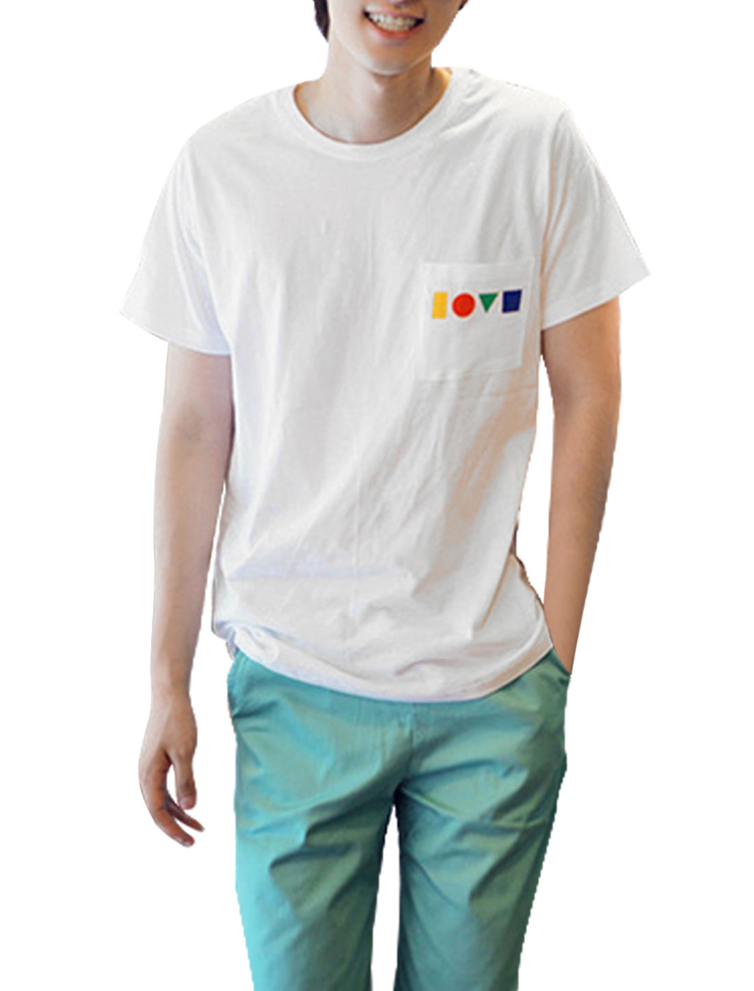 Man Round Neck Short Sleeve Chest Pocket Fashion Shirt White S