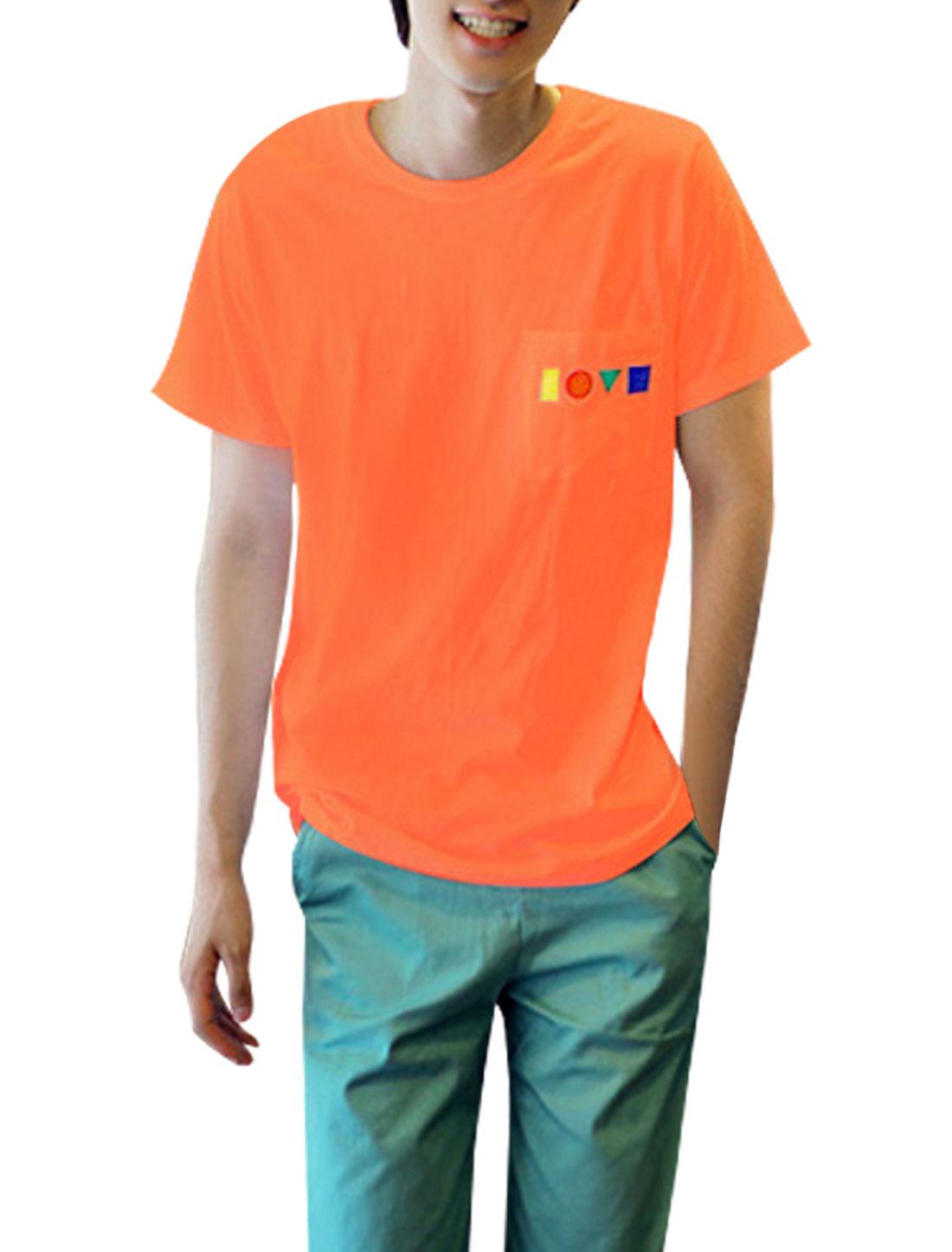 Men Short-sleeved Pockets Round Neck Korean Style Shirt Orange S