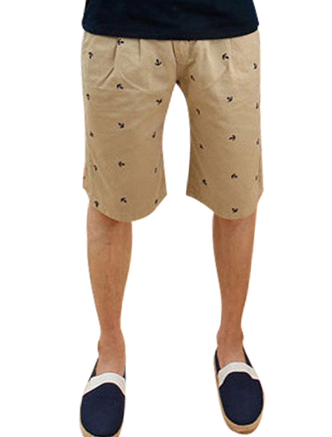 Men Leisure Natural Waist Buttoned Anchor Embroidery Shorts Kahki M