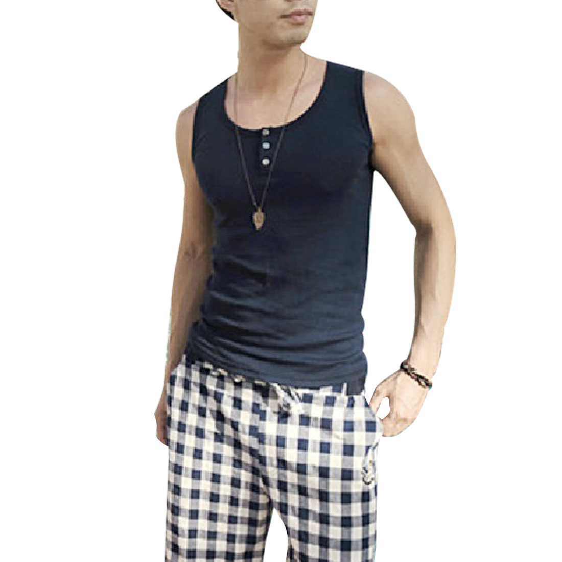 Man New Style Scoop Neck Button Front Decor Ribbed Dark Blue Tank Top S