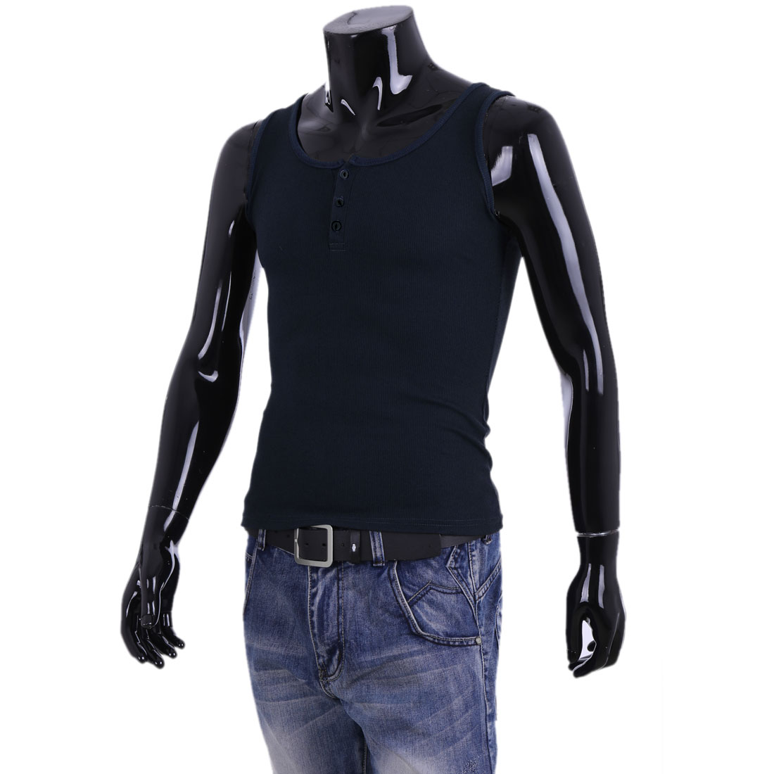 New Fashion Dark Blue Scoop Neck Button Front Decor Tank Top for Man S