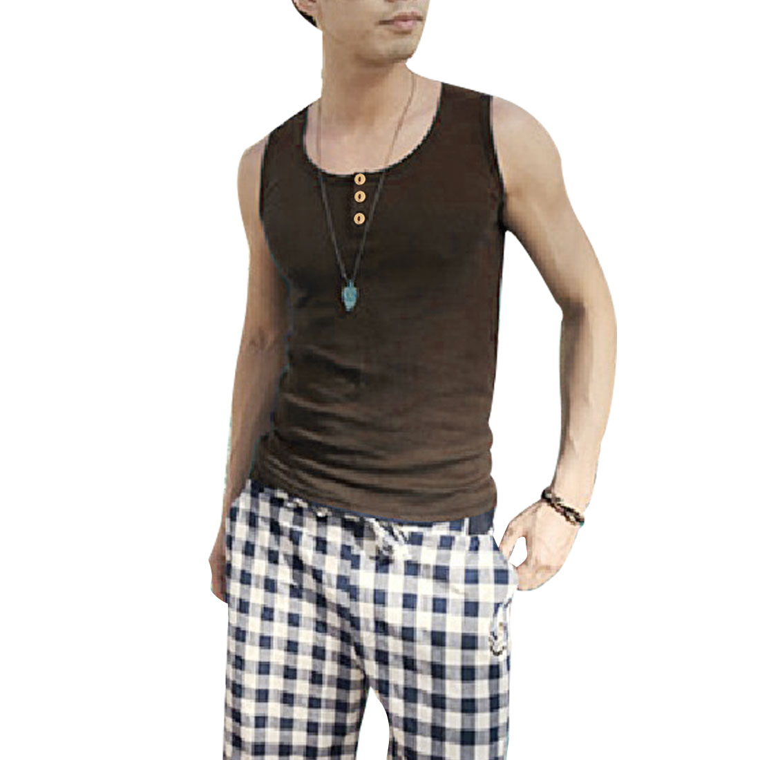 New Fashion Mans Brown Scoop Neck Button Front Decor Slim Fit Tank Top S