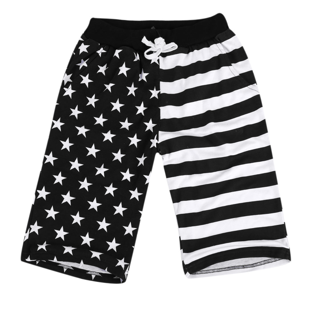 Men Natural Waist Stretchy Stripes Star Prints Black White Shorts S