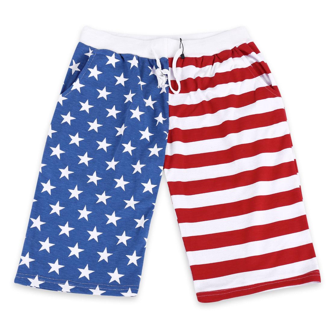 Men Adjustable Strap Waist Stripes Stars Pattern Shorts Blue Red S