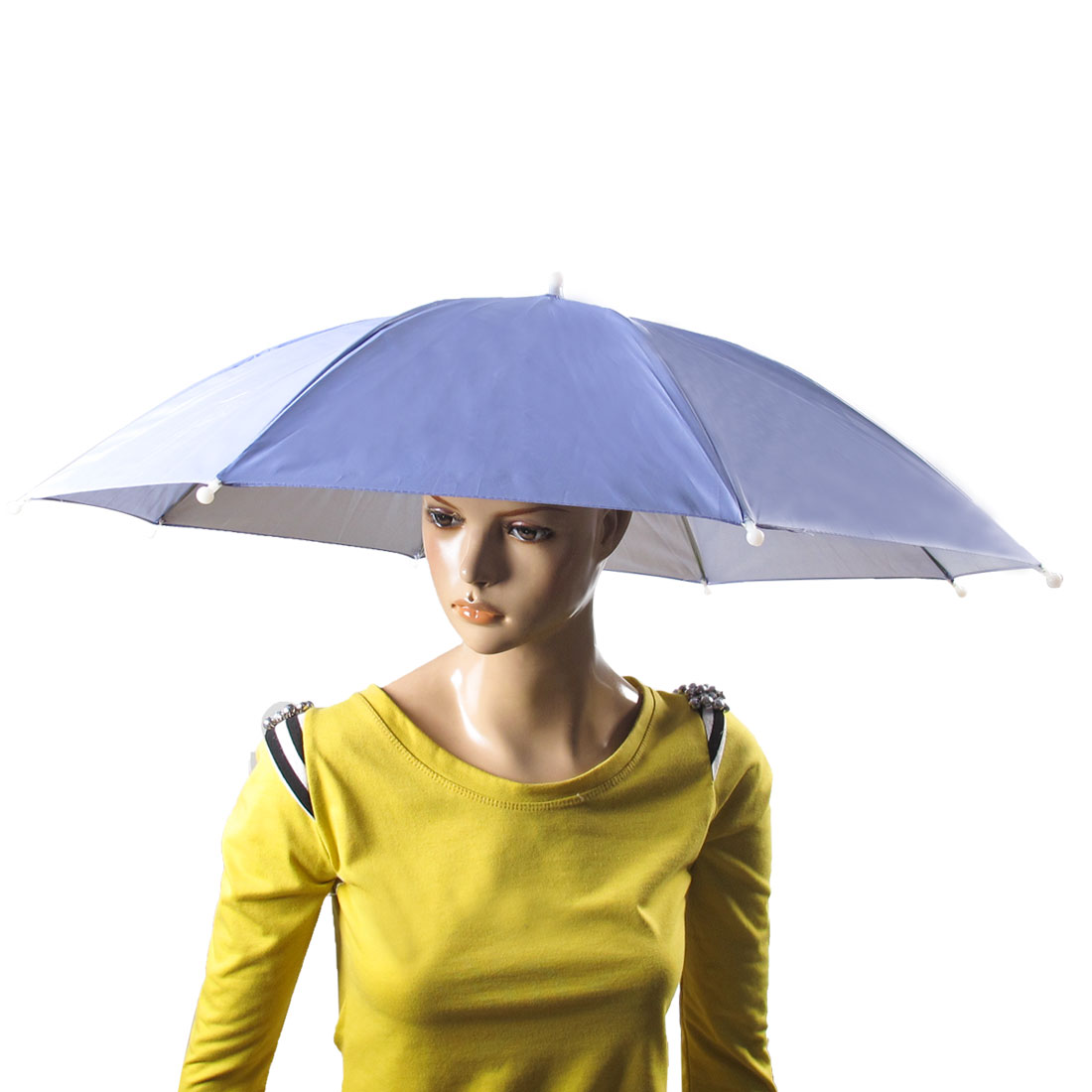 Fishing Sports Elastic Head Band Headwear Umbrella Hat Light Blue