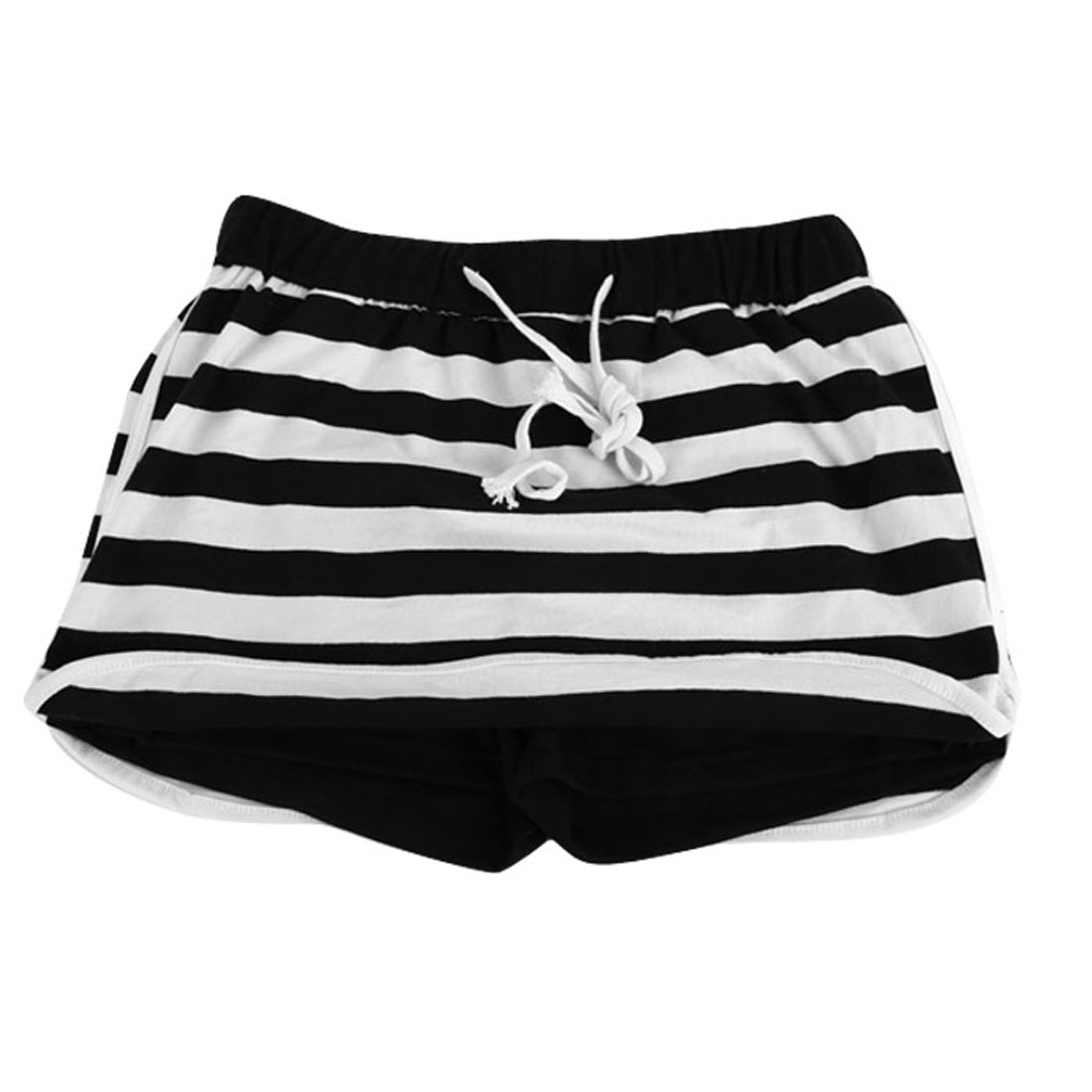 Ladies Stripes Prints Elastic Waist High Waist Sexy Skirt Black White S