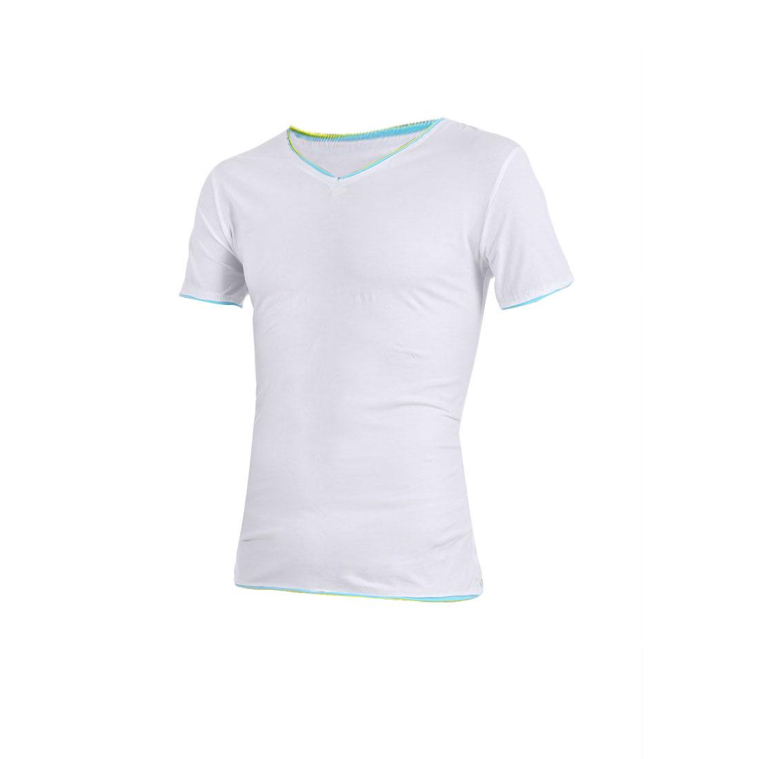 Men Short Sleeve Pullover Fitted White Splice Detail Shirt S