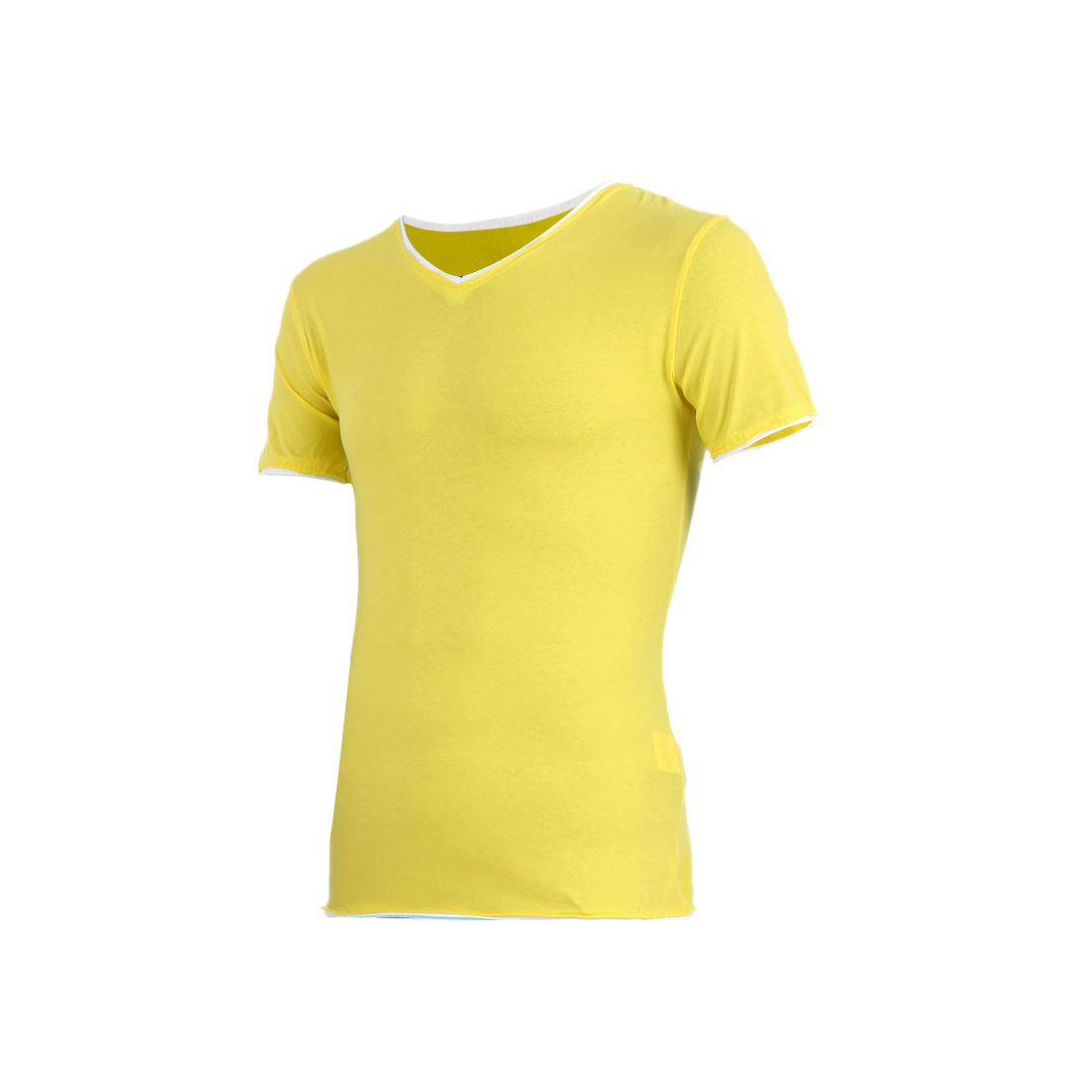 Men Color Blocking Detail Slim Fit Short Sleeve Shirt Lemon Yellow S