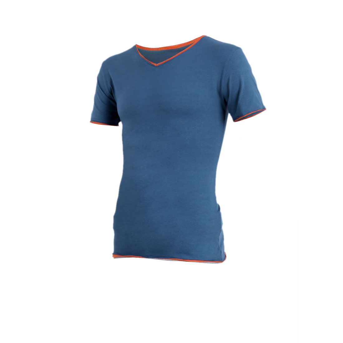 Men Stylish Pullover Elastic Splice Detail Indigo Blue Tee Shirt S