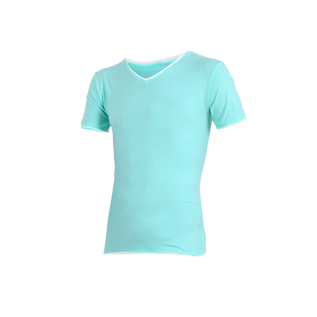 Men Stretchy Color Blocking Detail Stretchy V Neck Shirt Cyan S