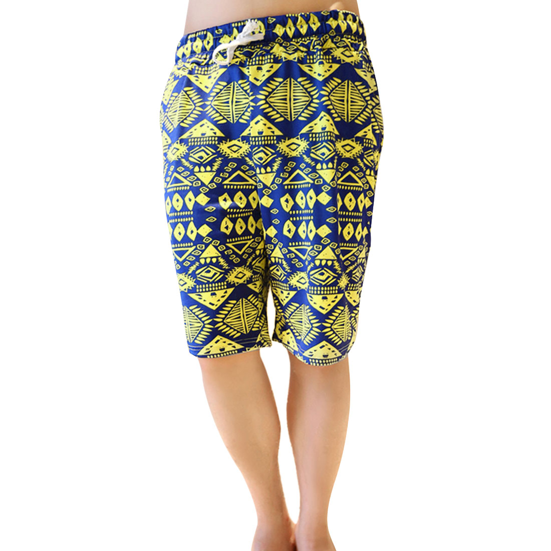 Men Summer Stretchy Waist Geometric Prints Yellow Blue Shorts XS