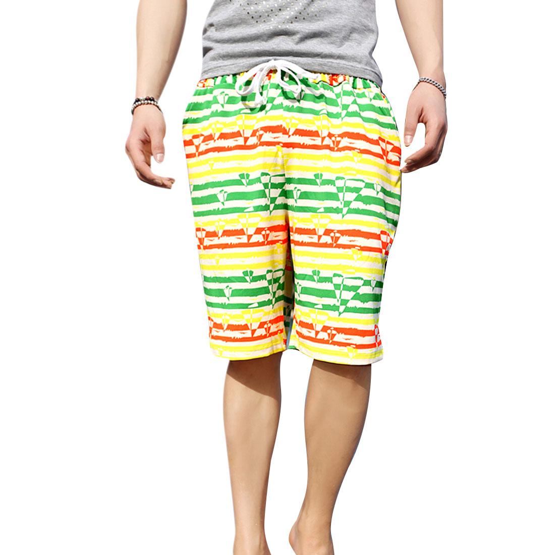 Men Drawstring Waist Sailing Boat Stripes Prints Multicolor Shorts XS