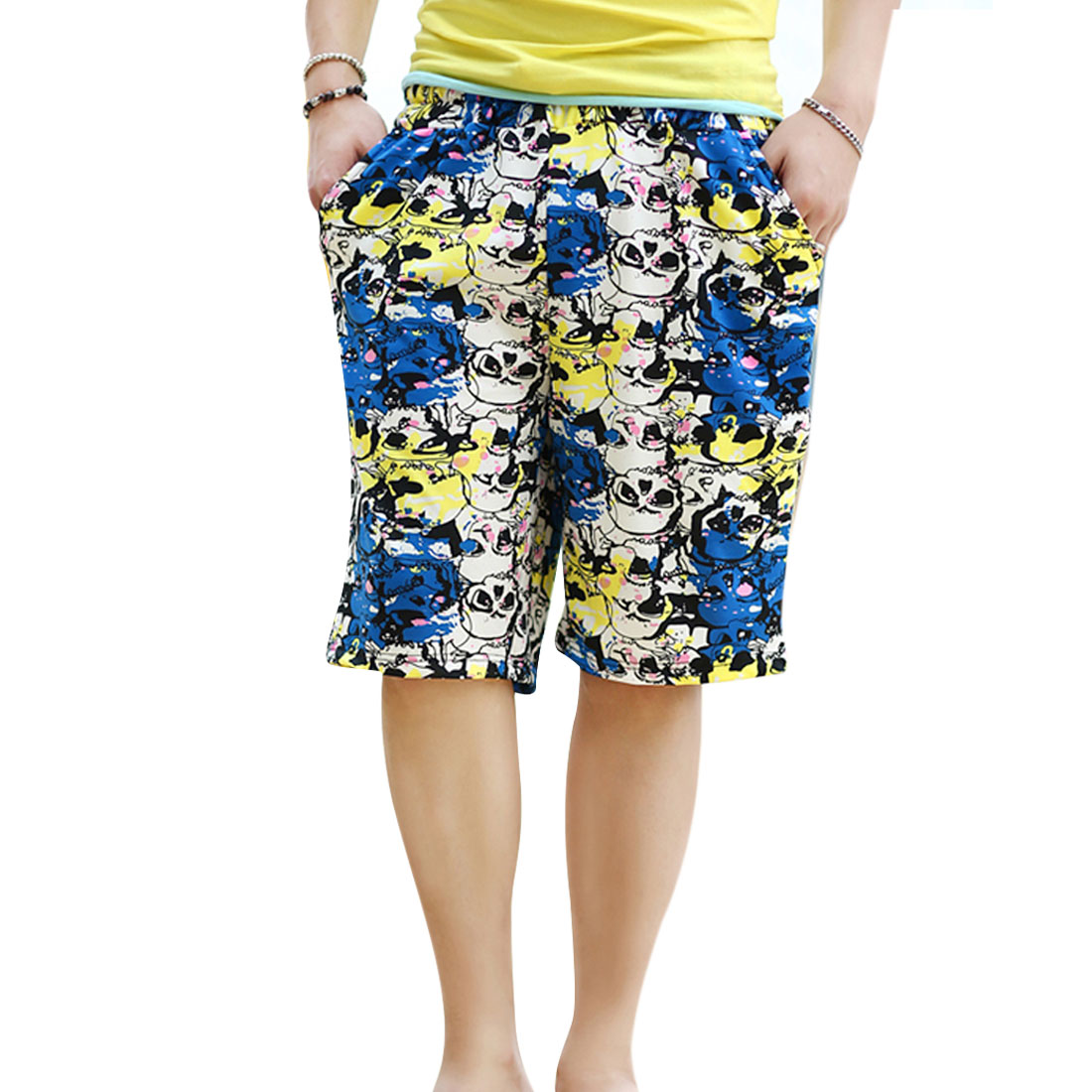 Men Summer Multicolor Skulls Prints Adjustable Strap Waist Beach Shorts XS