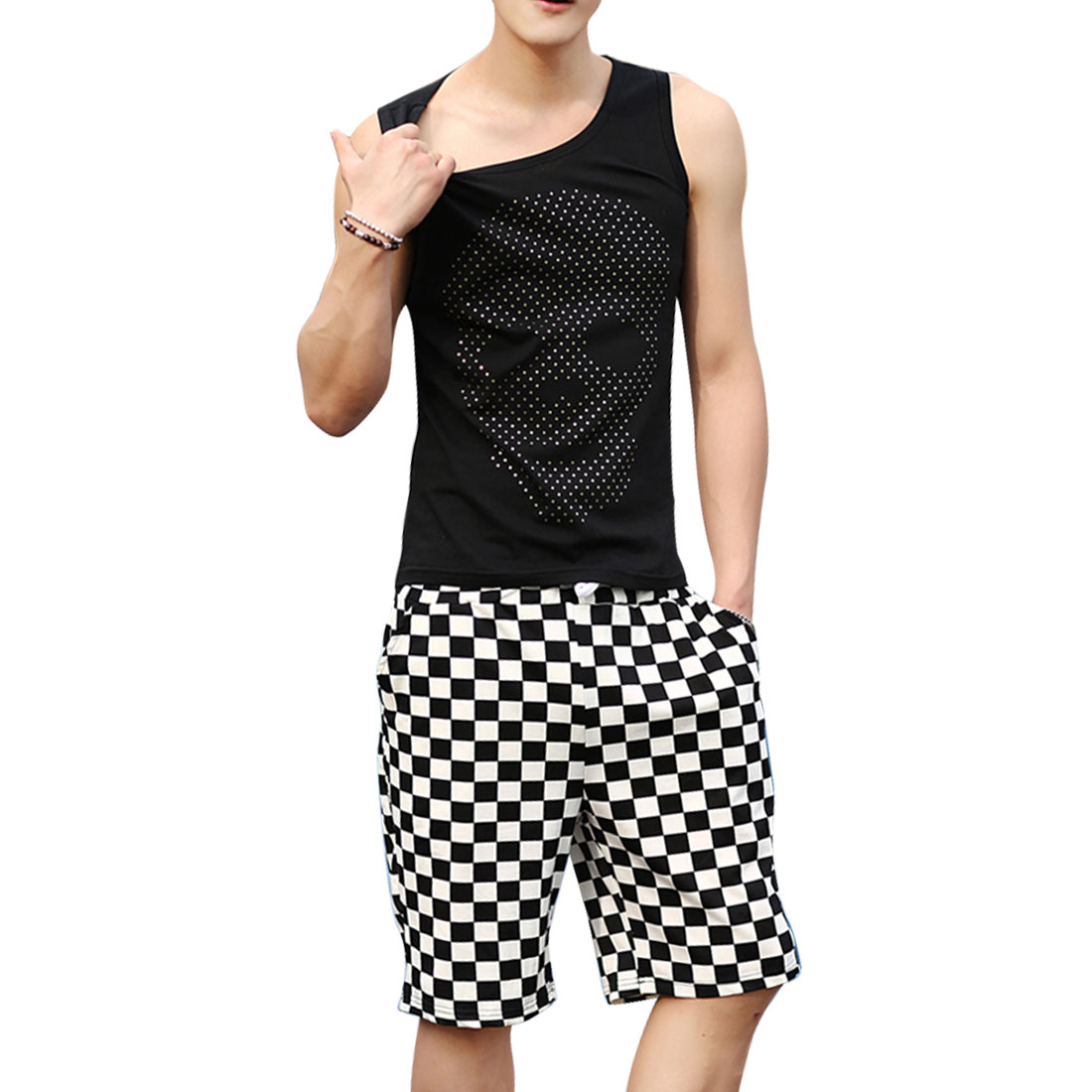 Men Sleeveless Skull Pattern U Neck Foil Casual Tank Top Shirt Black M