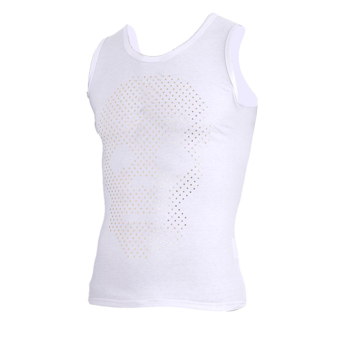 Men Sleeveless U Neck Skull Pattern Summer Tank Top Shirt White M
